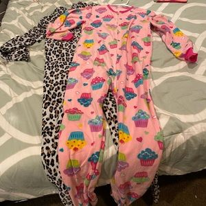 Two Footsie pajamas one juvenile & animal print